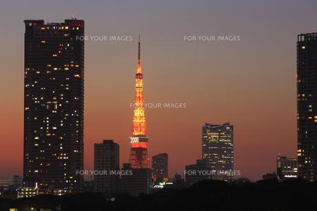 勝どきから東京タワーの夕景の写真素材 [FYI00477867]