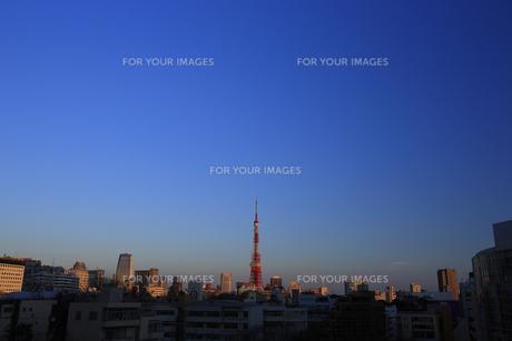 六本木から東京タワーの夕照の写真素材 [FYI00477873]