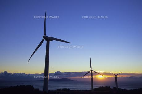 夜明けの風力発電機、Dawn of wind power generatorの写真素材 [FYI00480461]