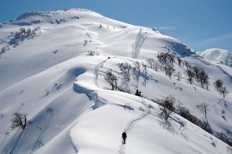 八海山・雪国の山を行くの素材 [FYI00480773]