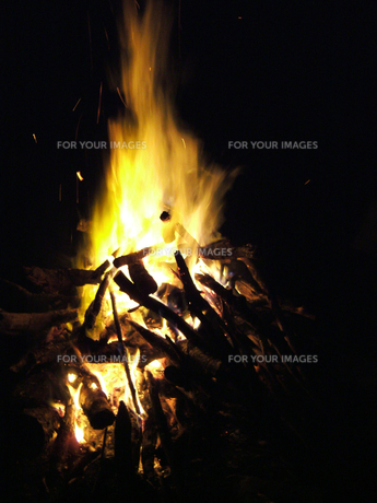 キャンプファイアの焚き火の写真素材 [FYI00480818]