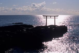 光る海と鳥居の写真素材 [FYI00481071]