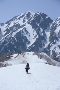 北アルプス・遠見尾根から望む残雪の五竜岳と登山者の写真素材 [FYI00481188]