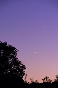 白神山地の夕空・月と金星の写真素材 [FYI00481207]