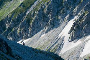 立山連峰の圏谷を行く登山者たちの素材 [FYI00481861]