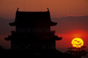 古城と日の出の写真素材 [FYI00481896]