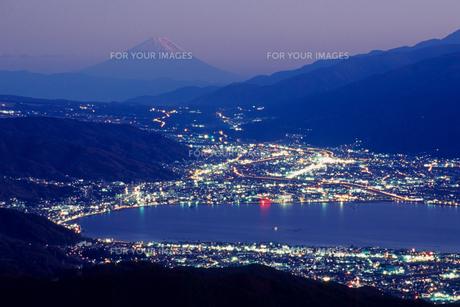 夜景と諏訪湖の素材 [FYI00481916]