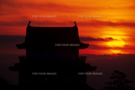 日の出と小田原城 - Sunrise Metropolitan Odawara Castleの素材 [FYI00481924]