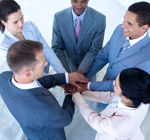 Business team with hands togetherの素材 [FYI00482121]