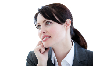 Portrait of an assertive businesswoman talking on phoneの写真素材 [FYI00482161]