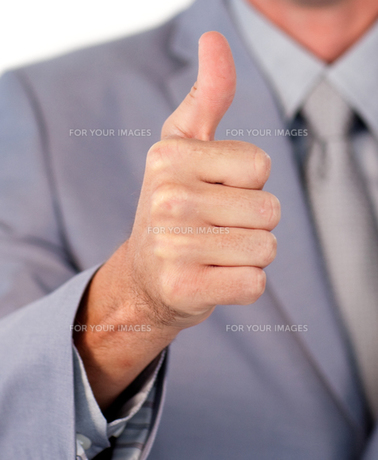 Close up of a businessman with thumb upの写真素材 [FYI00482206]