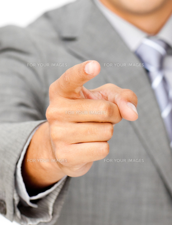 Close up of a businessman pointing at the cameraの写真素材 [FYI00482208]
