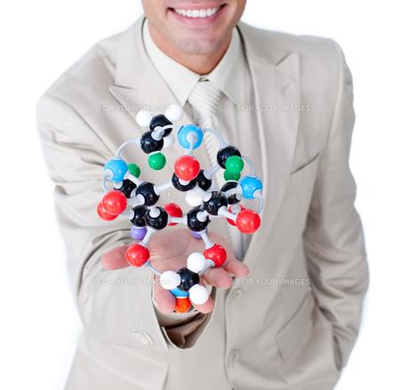 Smiling businessman talking about biologyの写真素材 [FYI00482217]