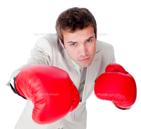 Positive businessman wearing boxing glovesの写真素材 [FYI00482220]