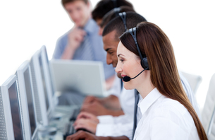 Smiling business team working in a call centerの素材 [FYI00482295]