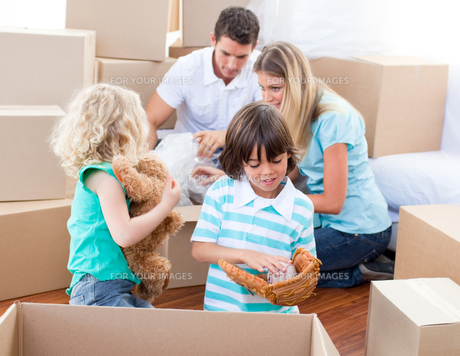 Family packing boxesの写真素材 [FYI00482386]