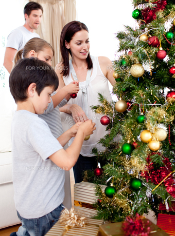Happy children and parents decorating a Christmas treeの写真素材 [FYI00482472]