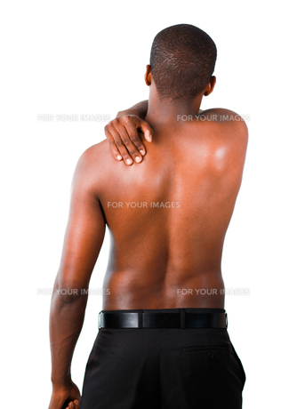 Muscular man with backpainの写真素材 [FYI00482692]