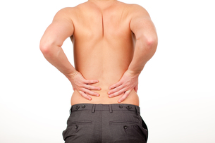 Man with backpain isolated agasint whiteの素材 [FYI00482719]
