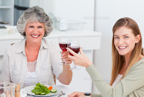 Woman drinking with her motherの写真素材 [FYI00483681]