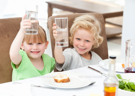 Children toasting with their drinkの写真素材 [FYI00483686]