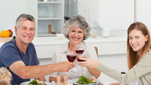 Family drinking wine togetherの写真素材 [FYI00483687]