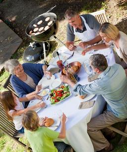 Family eating in the gardenの写真素材 [FYI00483841]