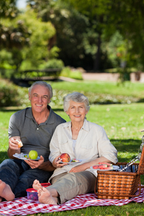 Retired couple  picnicking in the gardenの写真素材 [FYI00483935]