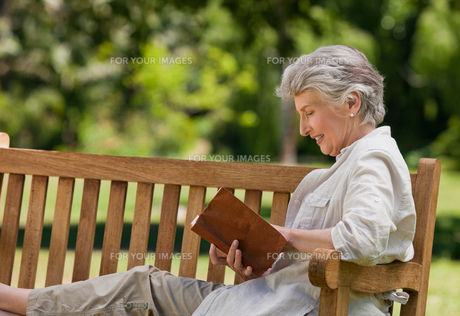Retired woman reading a book on the  benchの写真素材 [FYI00483977]