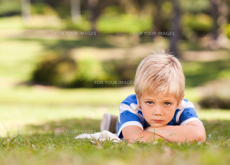 Boy lying down in the parkの写真素材 [FYI00484165]