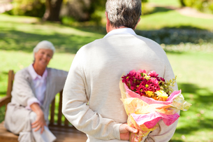 Retired man offering flowers to his wifeの写真素材 [FYI00484181]