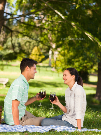 Young couple  picnicking in the parkの写真素材 [FYI00484212]
