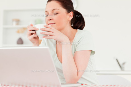 Good looking woman relaxing on her laptop while drinking a cup of teaの写真素材 [FYI00484391]
