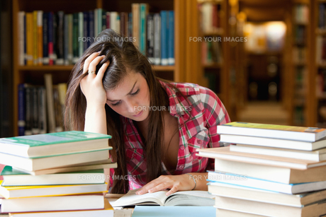 Focused student surrounded by booksの写真素材 [FYI00484719]