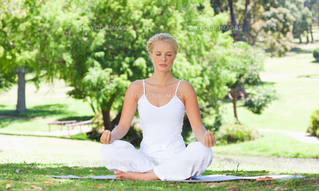 Woman sitting on the meadow in yoga positionの写真素材 [FYI00484974]