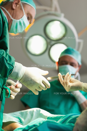 Surgeon taking a scalpel from a gloved handの写真素材 [FYI00485219]