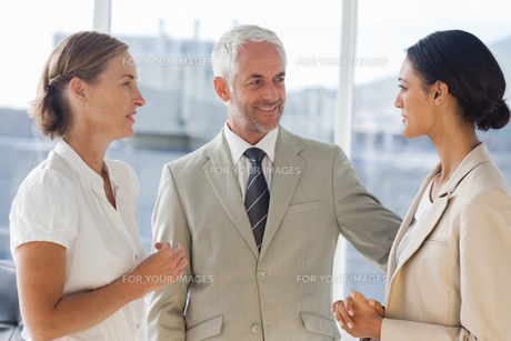 Likeable businessman speaking with female colleaguesの素材 [FYI00485371]