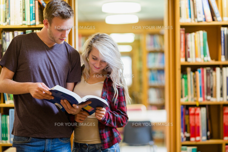 Two young students reading book in the libraryの写真素材 [FYI00485484]