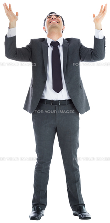 Happy  businessman with arms raisedの素材 [FYI00485808]