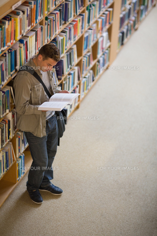 Student reading a book standing in libraryの素材 [FYI00485855]
