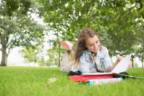 Happy young student studying on the grassの写真素材 [FYI00485861]