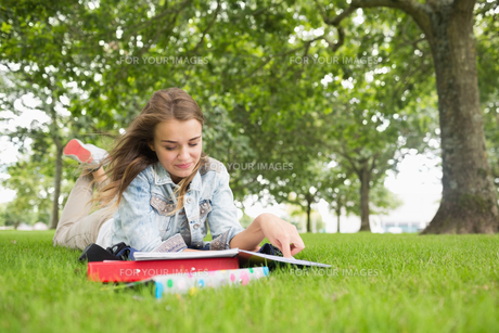 Happy student lying on the grass studyingの写真素材 [FYI00485868]