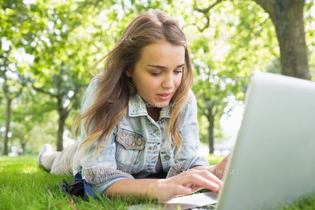 Young pretty student lying on the grass using laptopの写真素材 [FYI00485869]