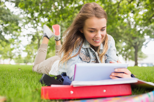 Happy student lying on the grass studying with her tablet pcの写真素材 [FYI00485871]
