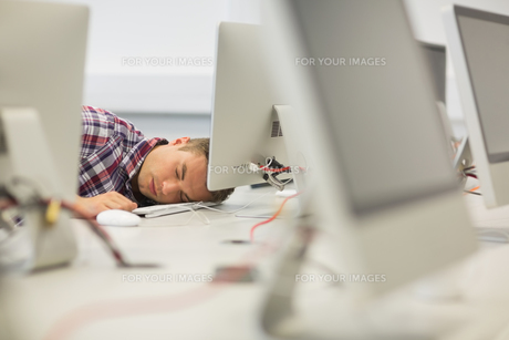 Handsome student napping in the computer roomの素材 [FYI00485883]