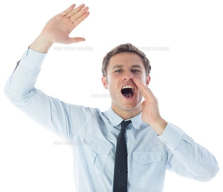 Businessman shouting and wavingの素材 [FYI00485901]