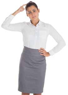 Worried businesswomanの写真素材 [FYI00485920]