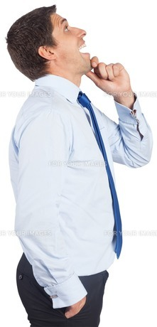 Thinking businessman touching his chinの素材 [FYI00485951]