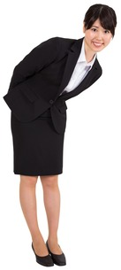 Smiling businesswoman bendingの写真素材 [FYI00485974]