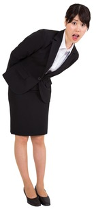 Surprised businesswoman bendingの写真素材 [FYI00485975]